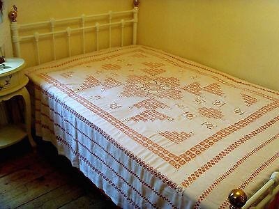 Vintage Hand Embroidered White Tablecloth Bedspread Drawn Thread Lace Large