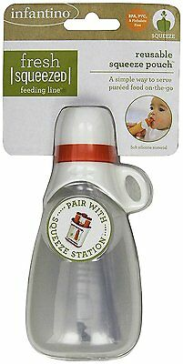 Infantino Keeper Reusable Squeeze Pouch for Fresh Baby Puree Food + Travel Clip