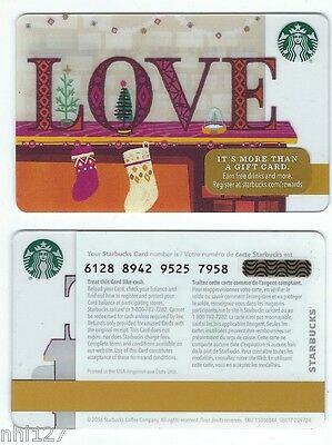 2016 Starbucks CANADA LOVE RELOADABLE GIFT CARD