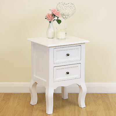 Shabby Chic White Antique Style 2 Drawer Bedside Cabinet Storage Unit/Lamp Table