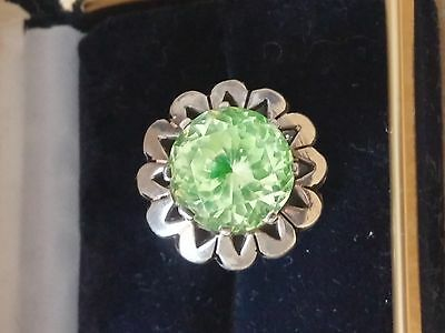 Vintage Sterling Silver 925 Large Cut Peridot Stone Green Ring Mexico