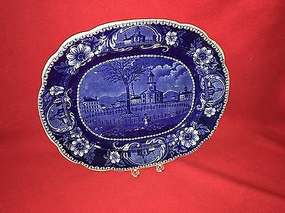 Historical Staffordshire Dark Blue Platter Pittsfield Elm By Clews 1825