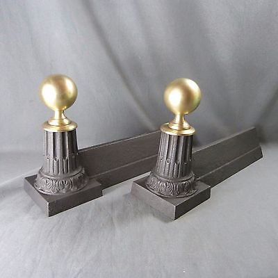 Pair of French Antique Cast Iron & Brass Fireplace Chenets Andirons Napoleon III