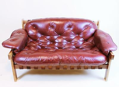 Vintage 1960' Mid Century Percival Lafer Style  Leather Sofa