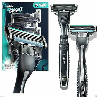 10 x Gillette Mach 3 Rubber Handle Pivoting Head Lubricating Disposable Razors