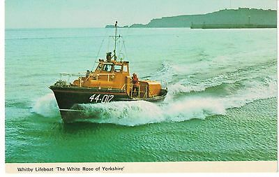 Postcard photo Whitby Waveney Type Lifeboat The White Rose of Yorkshire 1980s