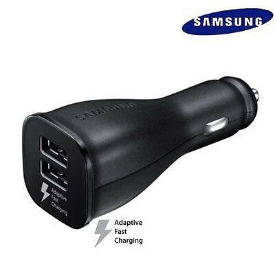 Original Samsung Dual Port Fast Car Charger for Galaxy S6 S7 Edge Black