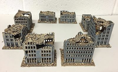 6mm RUINED CITY. 8 model set. Gray colour.