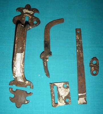 Antique Vintage 1800s Cast Iron Thumb Latch Set Door Large Handle * AS-IS