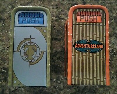 Disney Parks Salt And Pepper Shakers Trash Cans Tommorow land and Adventure Land