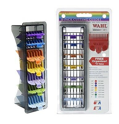 Free Organizer!  Wahl Hair Clipper 8 Pack Cutting Guides, Guided Combs 3170-400