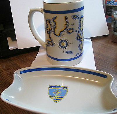 Stanavforlant Standing Naval Forces Atlantic Stein & Dish/Tray Lot of 2