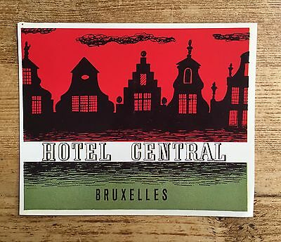 Old Travel luggage label sticker HOTEL CENTRAL BRUXELLES vintage graphics