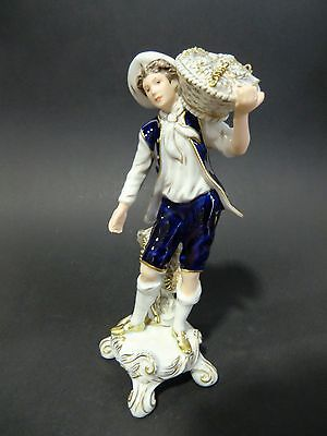 Bohemian Czech Vintage Royal Dux Pottery Figurine Rococo Winemaker