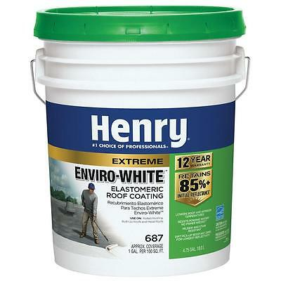 Henry 4.75 Gal. 687 Elastomeric White Roof Coating Reflective Waterproof Roofing