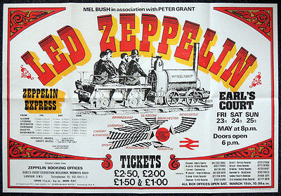 Led Zeppelin 1975 Repro London Earls Court 23-25 May Concert Poster . 70 X 48 Cm