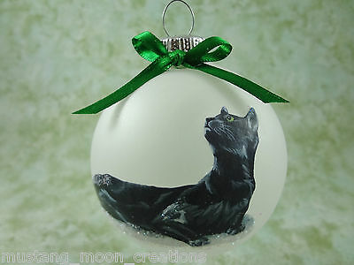 C006 Hand-made Christmas Ornament - Cat Kitten - black laying day dreaming