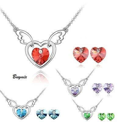 Crystal Heart Wings Jewellery Set Stud Earrings Necklace Pendant Women Girl Gift