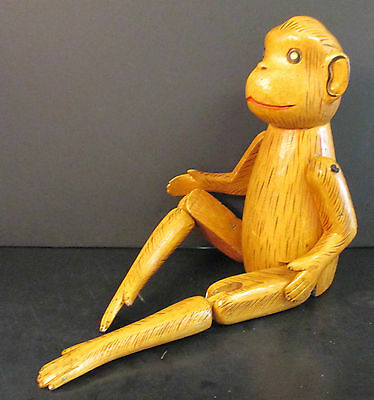 """22"""" Hand Carved/painted Wooden Monkey Shelf Sitter Jointed Legs/moveable Arms"""