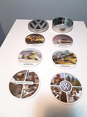 VW Volkswagen Round Tin Coaster Holder New Beetle Dune 1999 Concept