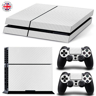 WHITE CARBON FIBRE PS4 Playstation Wrap Skin Sticker Decal Dust Cover