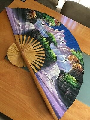 Very Large Vintage Wooden Fan Birds Waterfall - Large for Wall Hanging