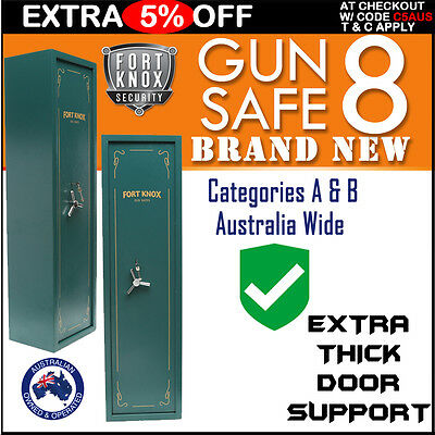 Fort Knox 8 Gun Safe Firearm Rifle Storage Lock Box Steel Cabinet Army Color