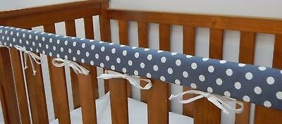 1 x Baby Cot Rail Cover Crib Teething Pad - White Spots On Charcoal  **REDUCED**