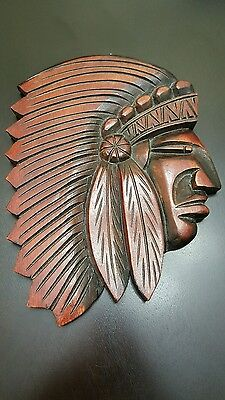 Native American Indian head hand crafted wooden ornament antique decoration