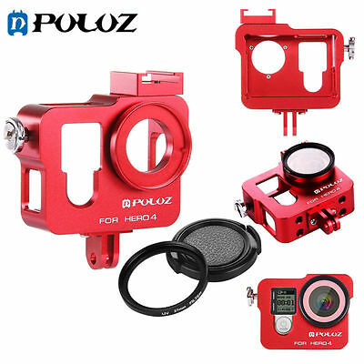Housing Shell Aluminum Protective Cage+ 37mm UV Lens Filter+ Cap for GoPro HERO4