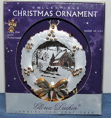 Gloria Duchin Jewelry For Your Tree Christmas Ornament Metal Wreath Winter Scene