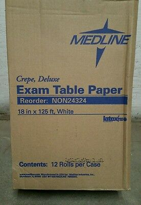 "Case of 12 Rolls of Medline White 18"" Wide x 125' Long Exam Table Paper NON24324"