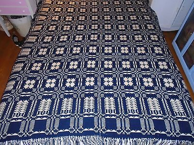 """Antique Wool Double Side Blue/White Winter Coverlet; 1800's; 82""""x 73"""""""