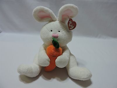 Ty Pluffies Snackers Bunny Rabbit Plush Stuffed Animal Toy Holding Carrot TyLux