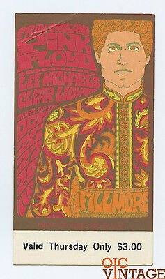 Bill Graham 90 Ticket Pink Floyd 1967 Oct 28