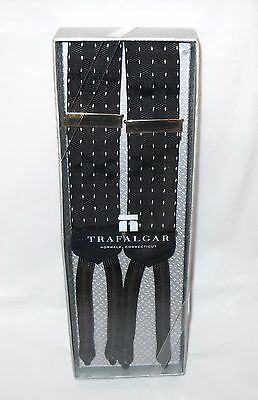 New Trafalgar Black and White Suspenders Braces Made in England with Box
