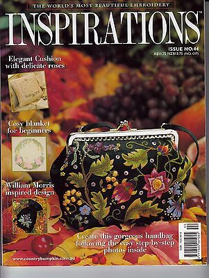 Inspirations Embroidery Magazine, No 44 Purse Bag Baby Rug Cushion Patterns
