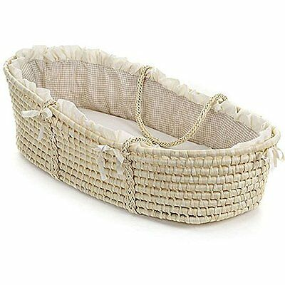 Natural Baby Moses Basket Gingham Bedding Baby Beige Wicker Nursery Accessories