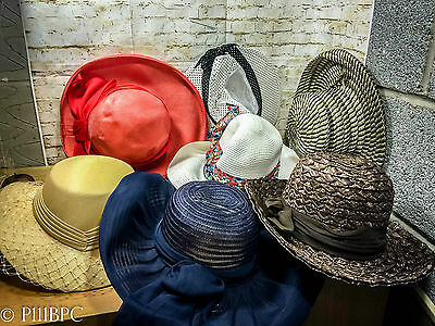 Collection of Vintage Womens Summer/Straw/Classic Hats 1960s Retro Job Lot