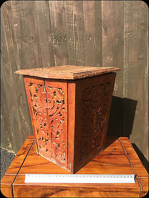 Large Antique Wooden Hand Carved Ornate Foldaway Box