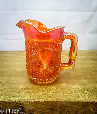 Rare Vintage Carnival Glass Milk Jug Cream Orange Kitchware Retro Tangerine