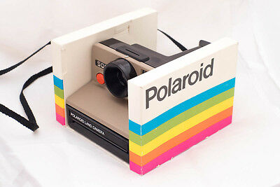 Polaroid 500 - Black and Brown Version camera with Rainbow stripe box TESTED