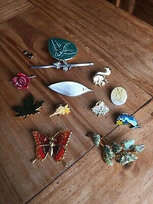 Job Lot Of 12X Vintage Brooches Costume Jewellery Broaches Pins Wildlife Flowers