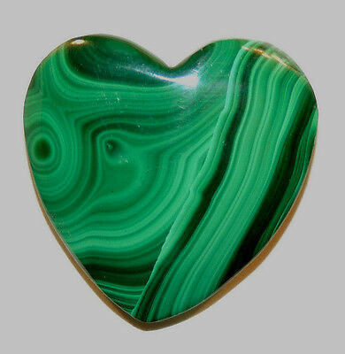 Malachite Heart 30x31mm with 8mm thick drilled hole in top (11764)