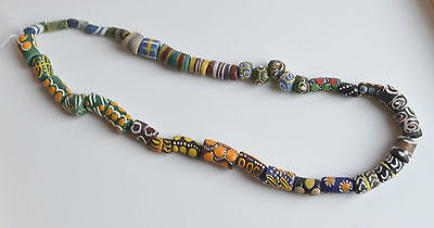 Rare Antique Venetian African Glass Trade Beads Lot Multicolor Hand Decorated
