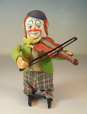 Schuco Tanzfigur Clown mit Geige Uhrwerk Vorkrieg Made in Germany Nr. 2 #1131