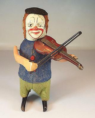 Schuco Tanzfigur Clown mit Geige Uhrwerk Vorkrieg Made in Germany Nr. 3 #1132