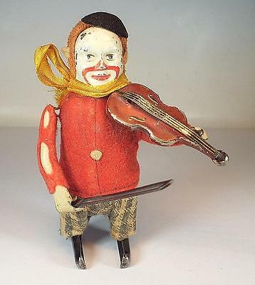 Schuco Tanzfigur Clown mit Geige Uhrwerk Vorkrieg Made in Germany Nr. 4 #1134