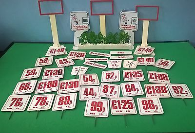 JOB LOT OF 41 x VINTAGE BUTCHERS PIN PRICE MEAT LABELS