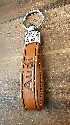 AUDI Eco Leather Brown Key Chain Keyring Car Auto A1 A3 A4 A5 A6 A7 TT S line RS